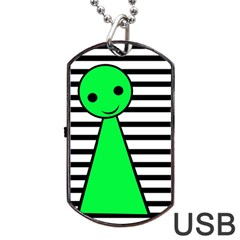 Green Pawn Dog Tag Usb Flash (one Side) by Valentinaart