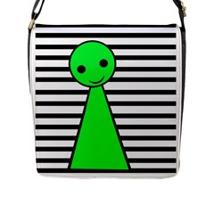 Green Pawn Flap Messenger Bag (l)  by Valentinaart