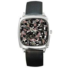 Artistic Abstract Pattern Square Metal Watch by Valentinaart