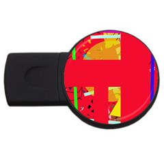 Red Abstraction Usb Flash Drive Round (4 Gb)  by Valentinaart