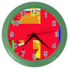 Red Abstraction Color Wall Clocks by Valentinaart