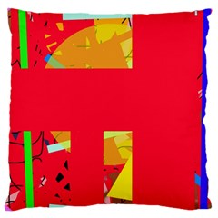Red abstraction Large Cushion Case (One Side) by Valentinaart