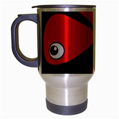 Red Amoeba Travel Mug (silver Gray) by Valentinaart