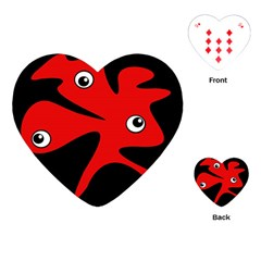 Red Amoeba Playing Cards (heart)  by Valentinaart
