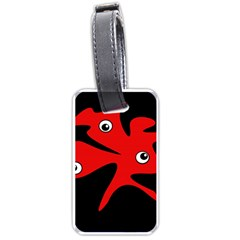 Red Amoeba Luggage Tags (one Side)  by Valentinaart
