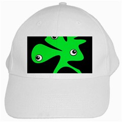 Green Amoeba White Cap by Valentinaart