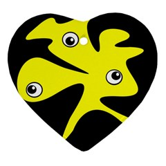 Yellow Amoeba Ornament (heart)  by Valentinaart