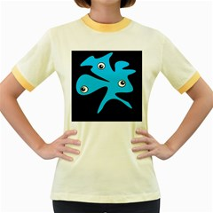 Blue amoeba Women s Fitted Ringer T-Shirts by Valentinaart