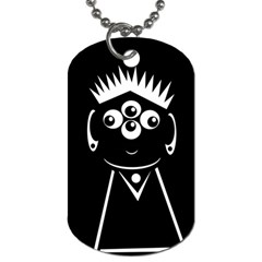 Black And White Voodoo Man Dog Tag (one Side) by Valentinaart