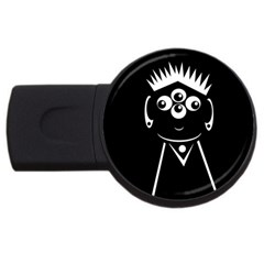 Black And White Voodoo Man Usb Flash Drive Round (4 Gb)  by Valentinaart