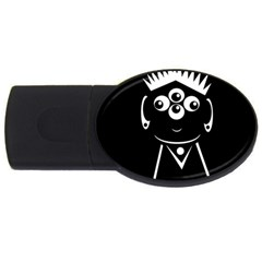 Black And White Voodoo Man Usb Flash Drive Oval (4 Gb)  by Valentinaart