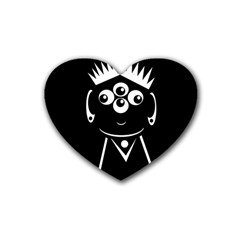 Black And White Voodoo Man Heart Coaster (4 Pack)  by Valentinaart