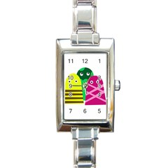 Three Mosters Rectangle Italian Charm Watch by Valentinaart