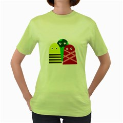 Three Mosters Women s Green T Shirt by Valentinaart