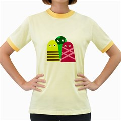 Three Mosters Women s Fitted Ringer T Shirts by Valentinaart