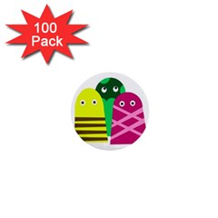 Three Mosters 1  Mini Buttons (100 Pack)  by Valentinaart
