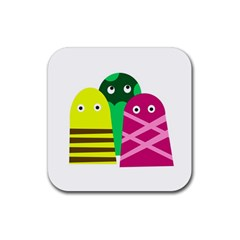 Three Mosters Rubber Coaster (square)  by Valentinaart
