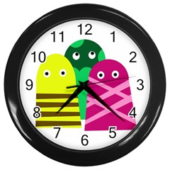 Three Mosters Wall Clocks (black) by Valentinaart