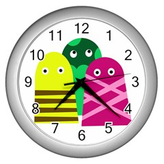 Three Mosters Wall Clocks (silver)  by Valentinaart