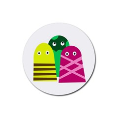 Three Mosters Rubber Round Coaster (4 Pack)  by Valentinaart