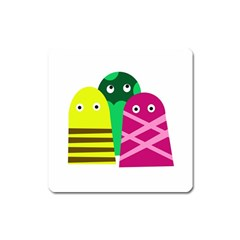 Three Mosters Square Magnet by Valentinaart