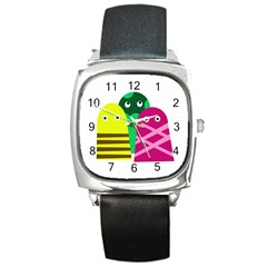 Three Mosters Square Metal Watch by Valentinaart