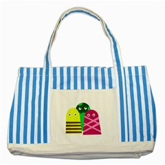 Three Mosters Striped Blue Tote Bag by Valentinaart