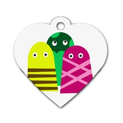 Three Mosters Dog Tag Heart (one Side) by Valentinaart