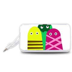 Three mosters Portable Speaker (White)  by Valentinaart
