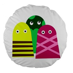 Three Mosters Large 18  Premium Round Cushions by Valentinaart