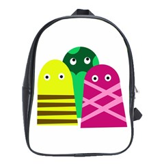 Three Mosters School Bags (xl)  by Valentinaart