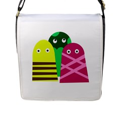 Three Mosters Flap Messenger Bag (l)  by Valentinaart