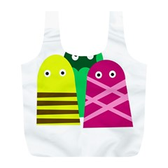 Three Mosters Full Print Recycle Bags (l)  by Valentinaart