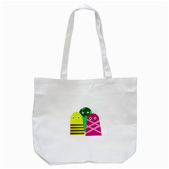 Three Mosters Tote Bag (white) by Valentinaart