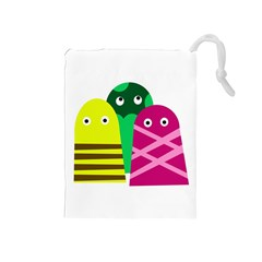 Three Mosters Drawstring Pouches (medium)  by Valentinaart