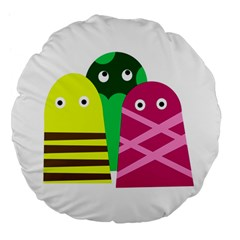 Three Mosters Large 18  Premium Flano Round Cushions by Valentinaart