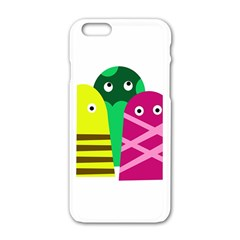 Three Mosters Apple Iphone 6/6s White Enamel Case by Valentinaart