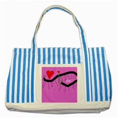 Centipedes Striped Blue Tote Bag by Valentinaart