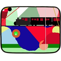 Abstract Train Fleece Blanket (mini) by Valentinaart