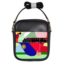 Abstract Train Girls Sling Bags by Valentinaart