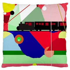 Abstract Train Large Flano Cushion Case (one Side) by Valentinaart