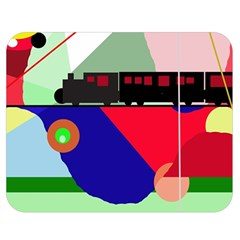 Abstract train Double Sided Flano Blanket (Medium)  by Valentinaart