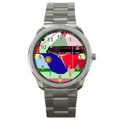 Abstract Train Sport Metal Watch by Valentinaart