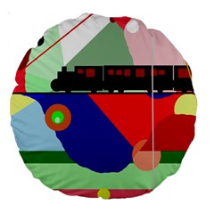 Abstract Train Large 18  Premium Round Cushions by Valentinaart