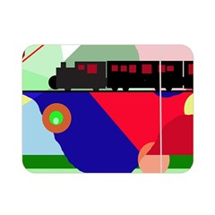 Abstract Train Double Sided Flano Blanket (mini)  by Valentinaart