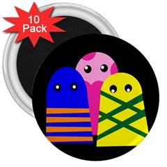 Three Monsters 3  Magnets (10 Pack)  by Valentinaart