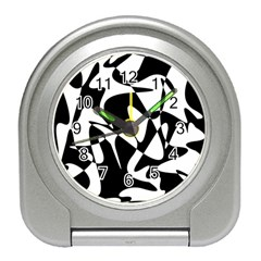 Black And White Elegant Pattern Travel Alarm Clocks by Valentinaart