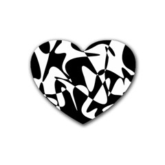 Black And White Elegant Pattern Heart Coaster (4 Pack)  by Valentinaart