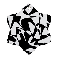 Black And White Elegant Pattern Ornament (snowflake)  by Valentinaart