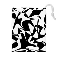 Black And White Elegant Pattern Drawstring Pouches (extra Large) by Valentinaart